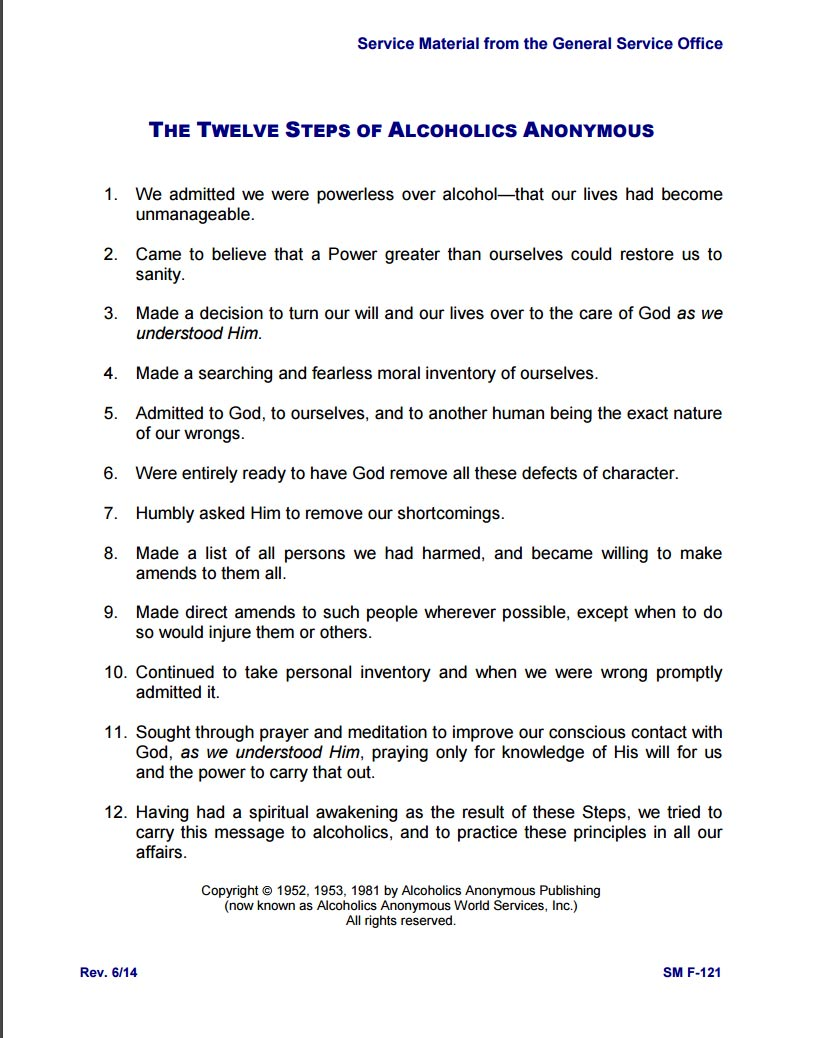 AA Resources Laurel Recovery – Alcoholics Anonymous 12 Steps Worksheets